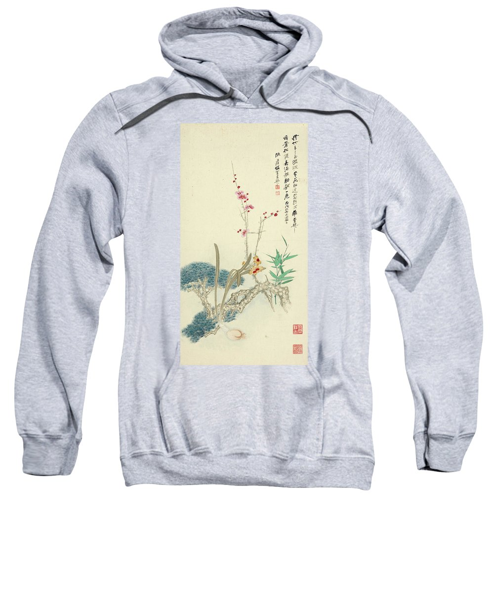 Zhang Daqian (10 May 1899 – 2 April 1983) Was One Of The Best-known And Most Prodigious Chinese Artists Of The Twentieth Century. Originally Known As A Guohua (traditionalist) Painter Sweatshirt featuring the painting Plum Pine Orchid by Zhang Daqian