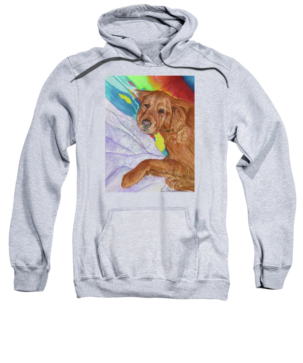 Golden Retriever Sweatshirt featuring the painting Plumb Tuckered Out by Renee Catherine Wittmann