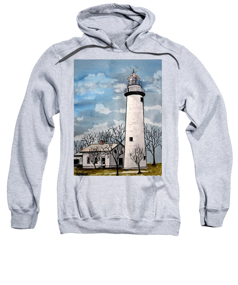 Lighthouse Painting Sweatshirt featuring the painting Point Aux Barques Lighthouse by Derek Mccrea