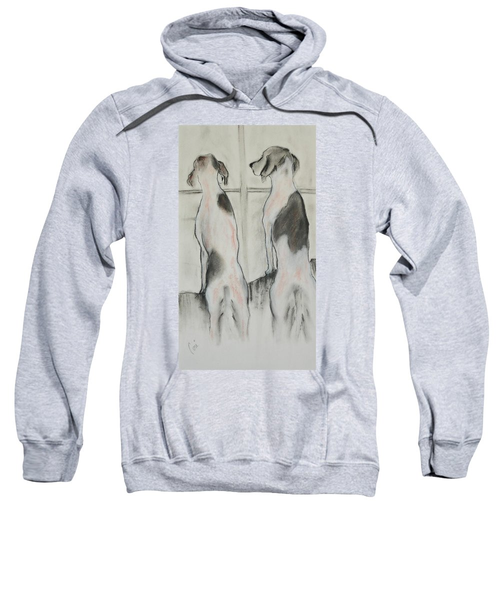 Pastel Sweatshirt featuring the drawing Point Of View by Cori Solomon
