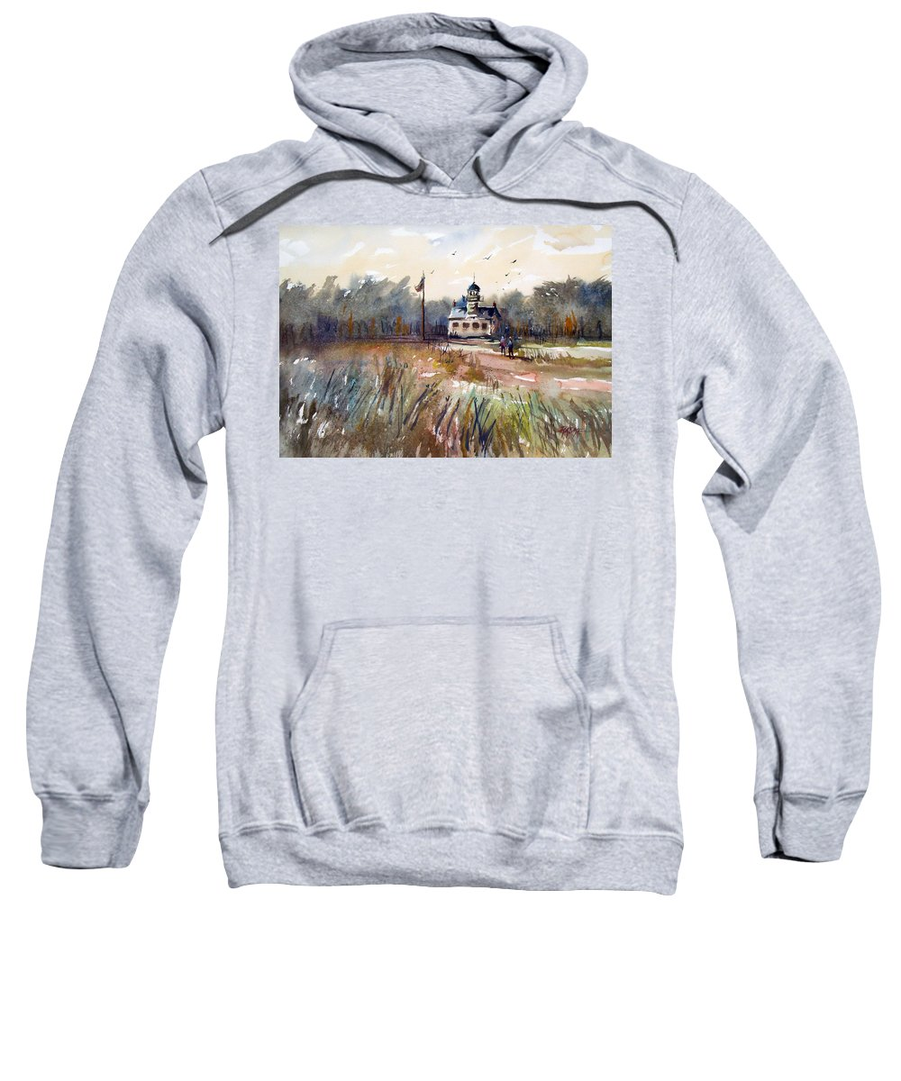 Watercolor Sweatshirt featuring the painting Point Pinos Lighthouse by Ryan Radke