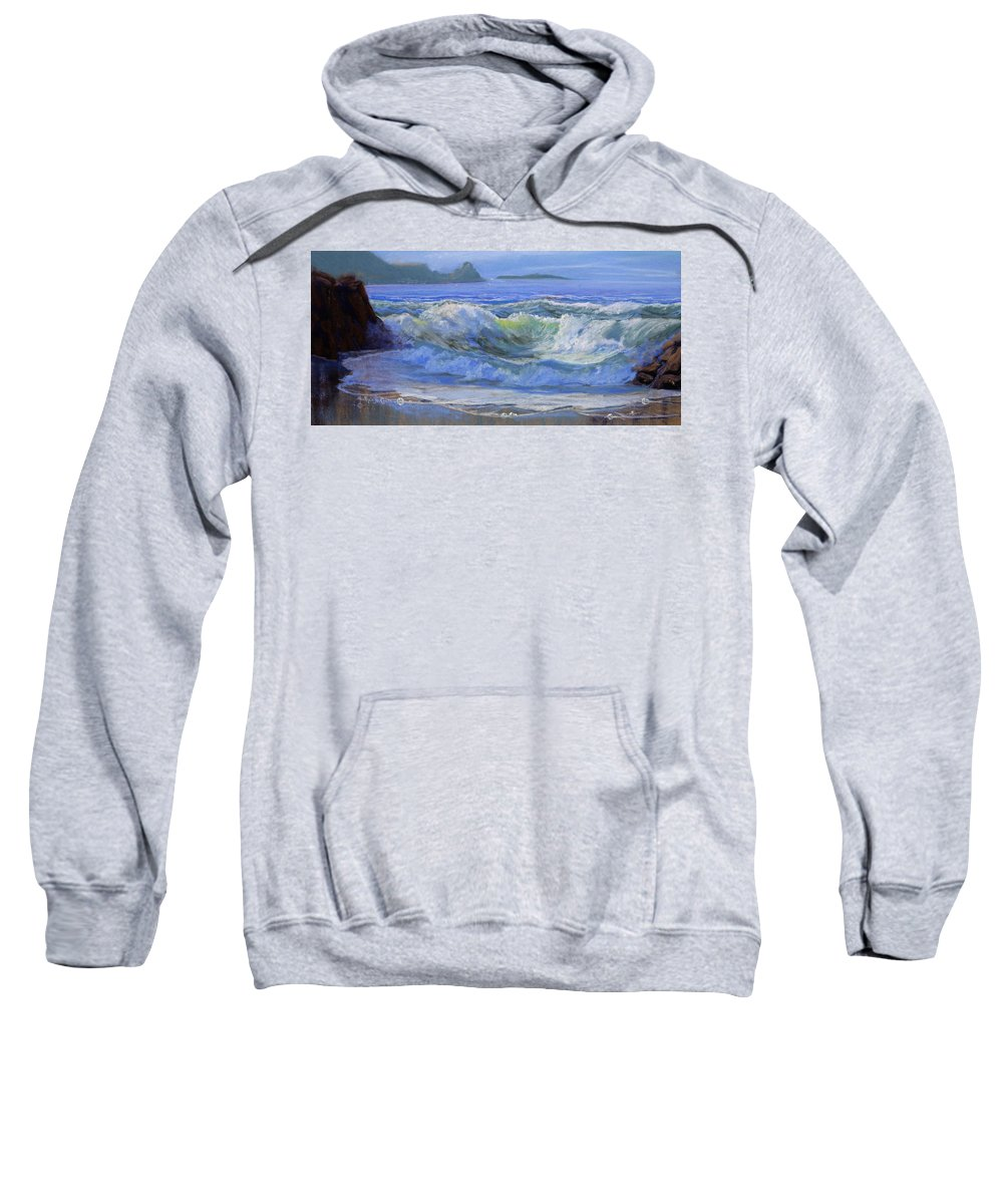 Seascape Sweatshirt featuring the painting Point Reyes by Heather Coen