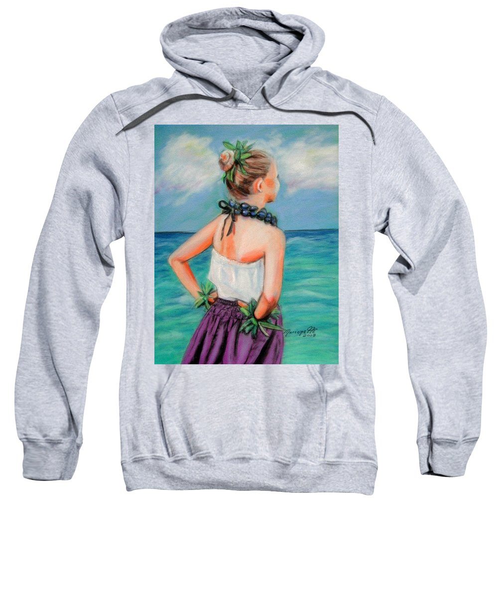 Hula Dance Sweatshirt featuring the painting Poipu Hula by Marionette Taboniar