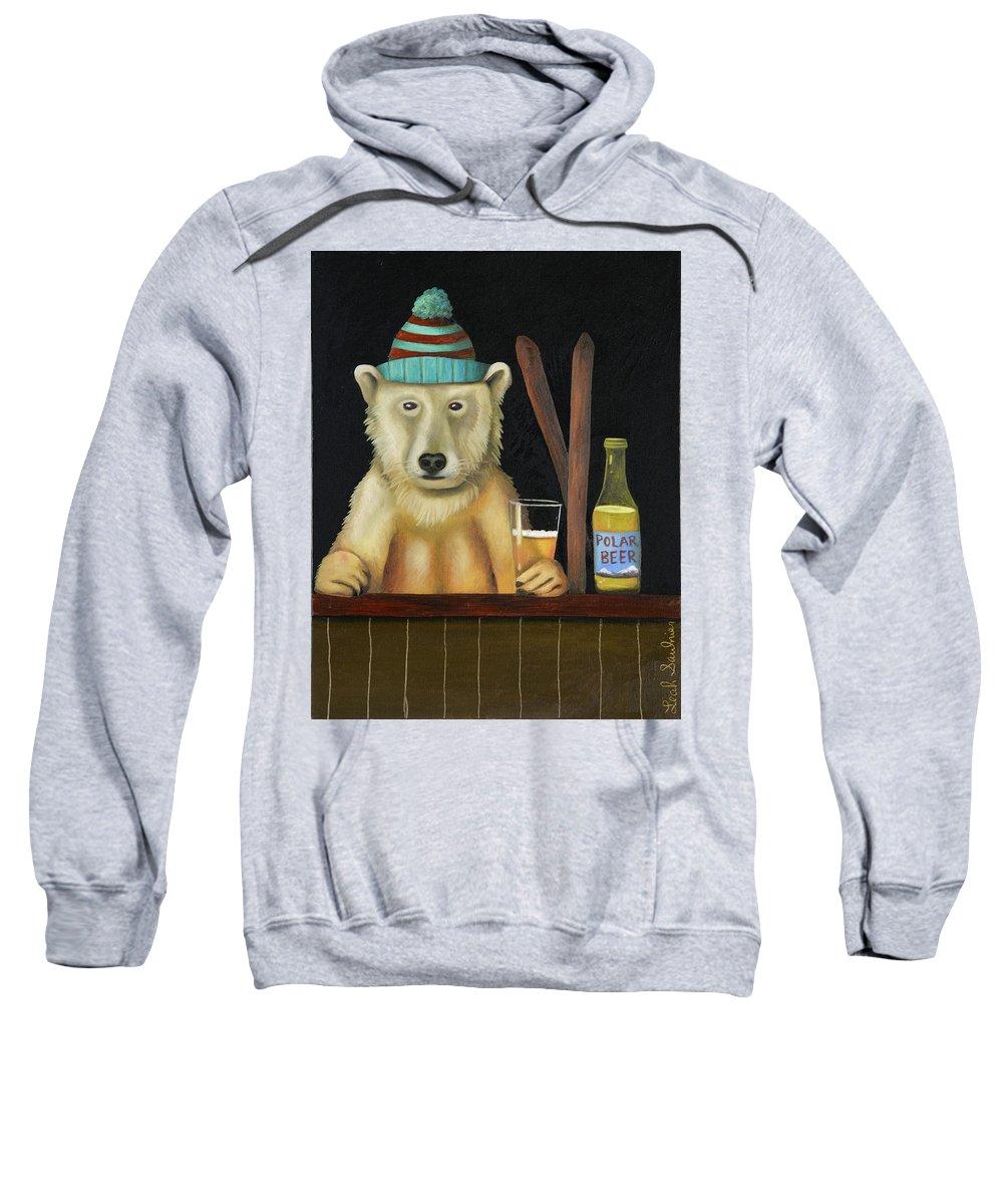 Polar Bear Sweatshirt featuring the painting Polar Beer by Leah Saulnier The Painting Maniac
