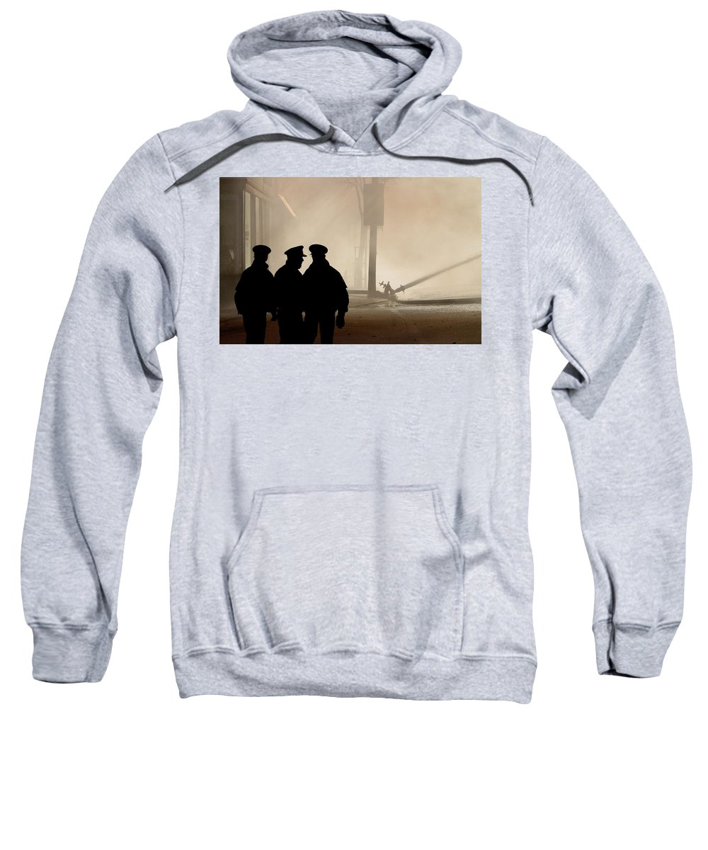 Three Sweatshirt featuring the digital art Police Watching Firefighters During Moose Jaw New Years Fire by Mark Duffy