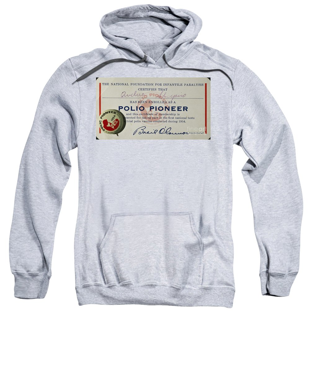 1954 Sweatshirt featuring the photograph Polio Certificate, 1954 by Granger