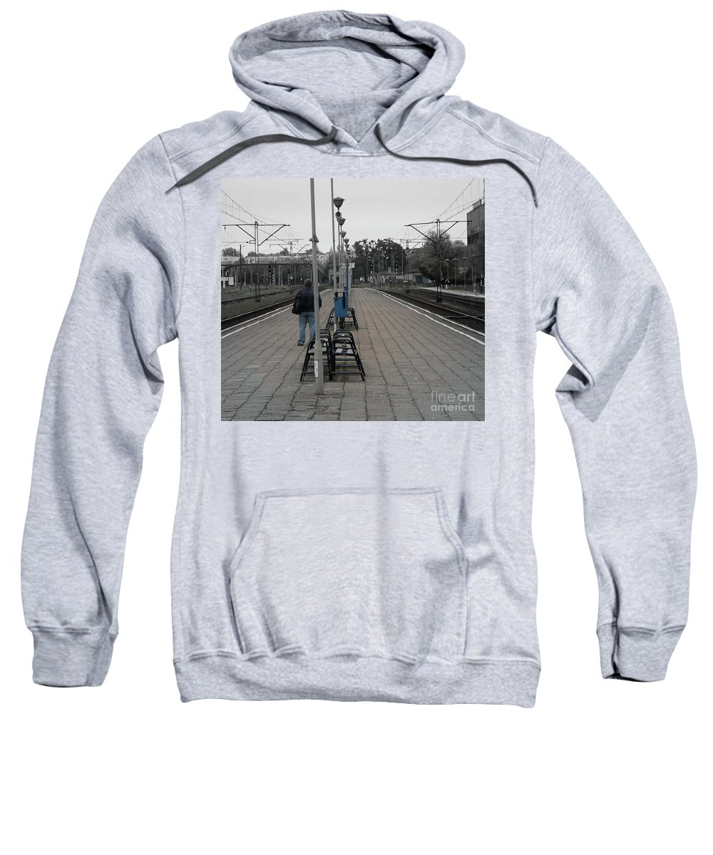 Poland Sweatshirt featuring the photograph Polish Train Station by Angela Wright