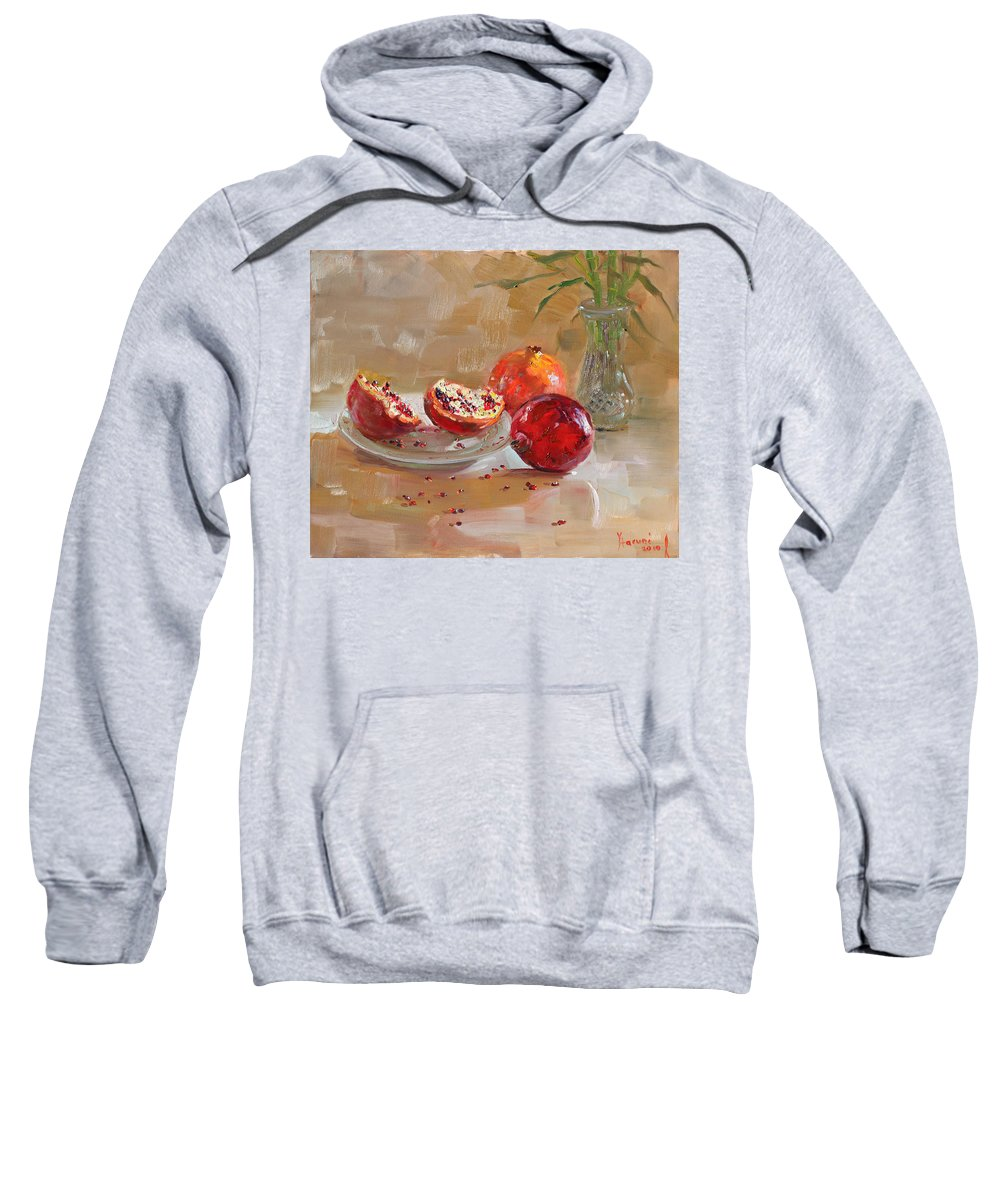 Pomegranates Sweatshirt featuring the painting Pomegranates by Ylli Haruni