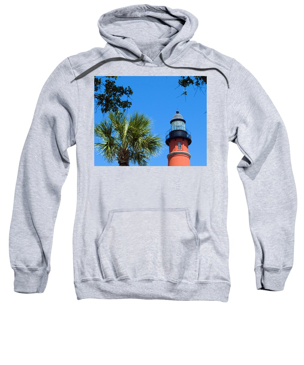 Ponce; De; Leon; Lighthouse; Light; House; Beacon; Navigation; Aid; Lens; Fresnel; Mosquito; Florida Sweatshirt featuring the photograph Ponce Del Leon Inlet Florida by Allan Hughes