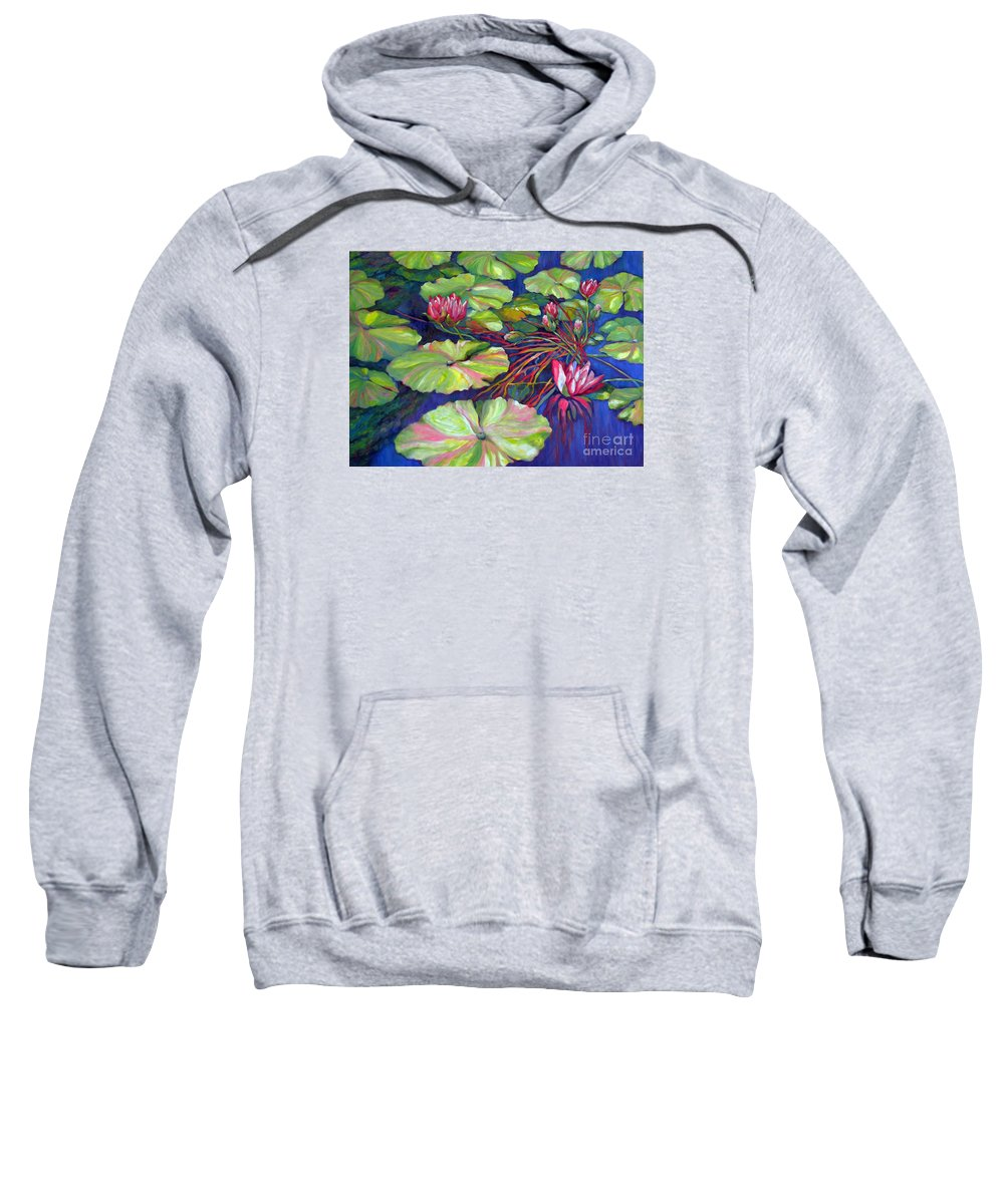 Contemporary Art Sweatshirt featuring the painting Pond 8 Pond Series by Sharon Nelson-Bianco