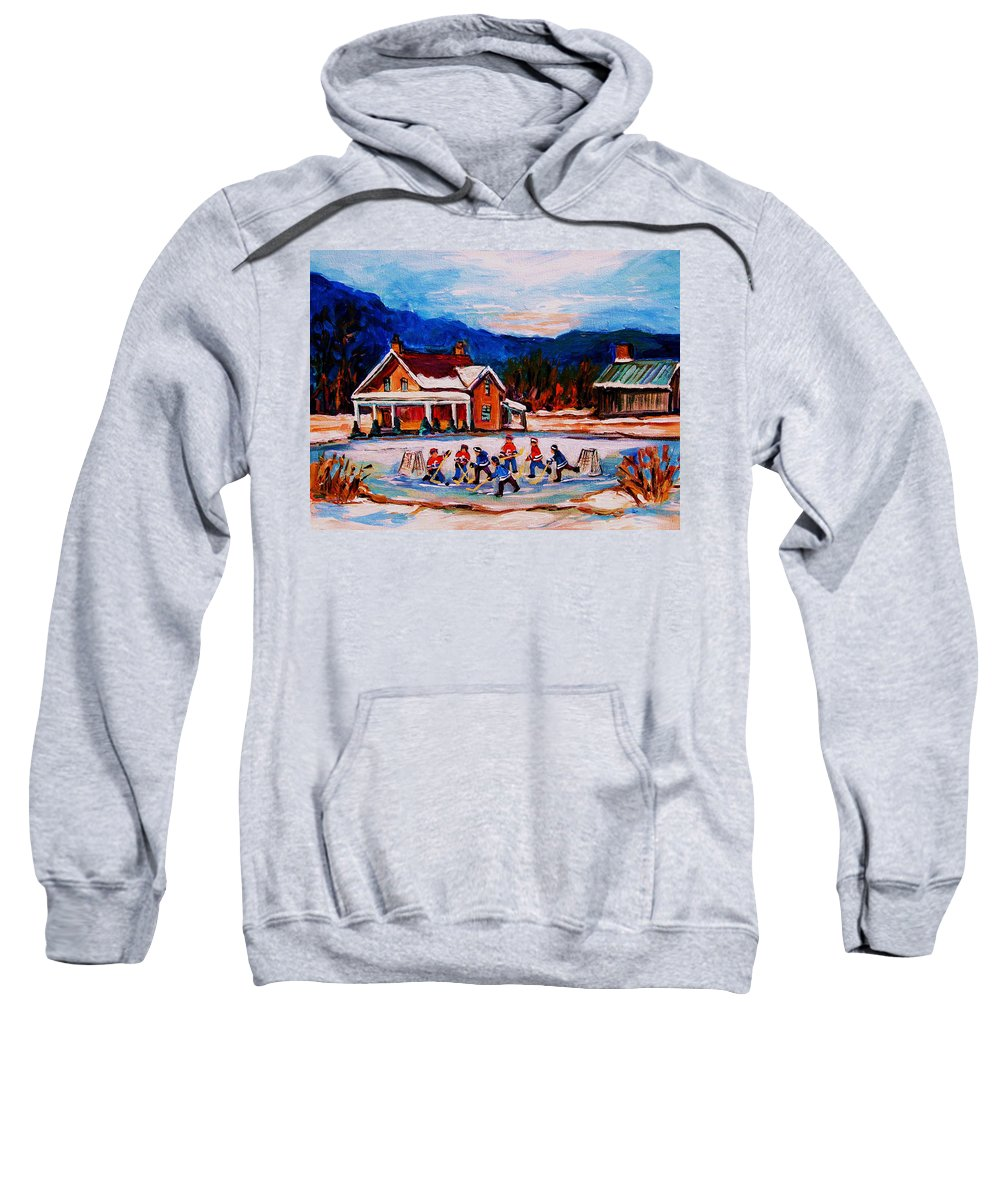 Hockey Sweatshirt featuring the painting Pond Hockey by Carole Spandau