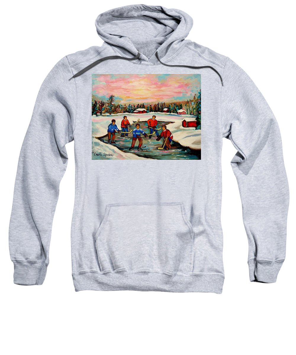 Montreal Sweatshirt featuring the painting Pond Hockey Countryscene by Carole Spandau