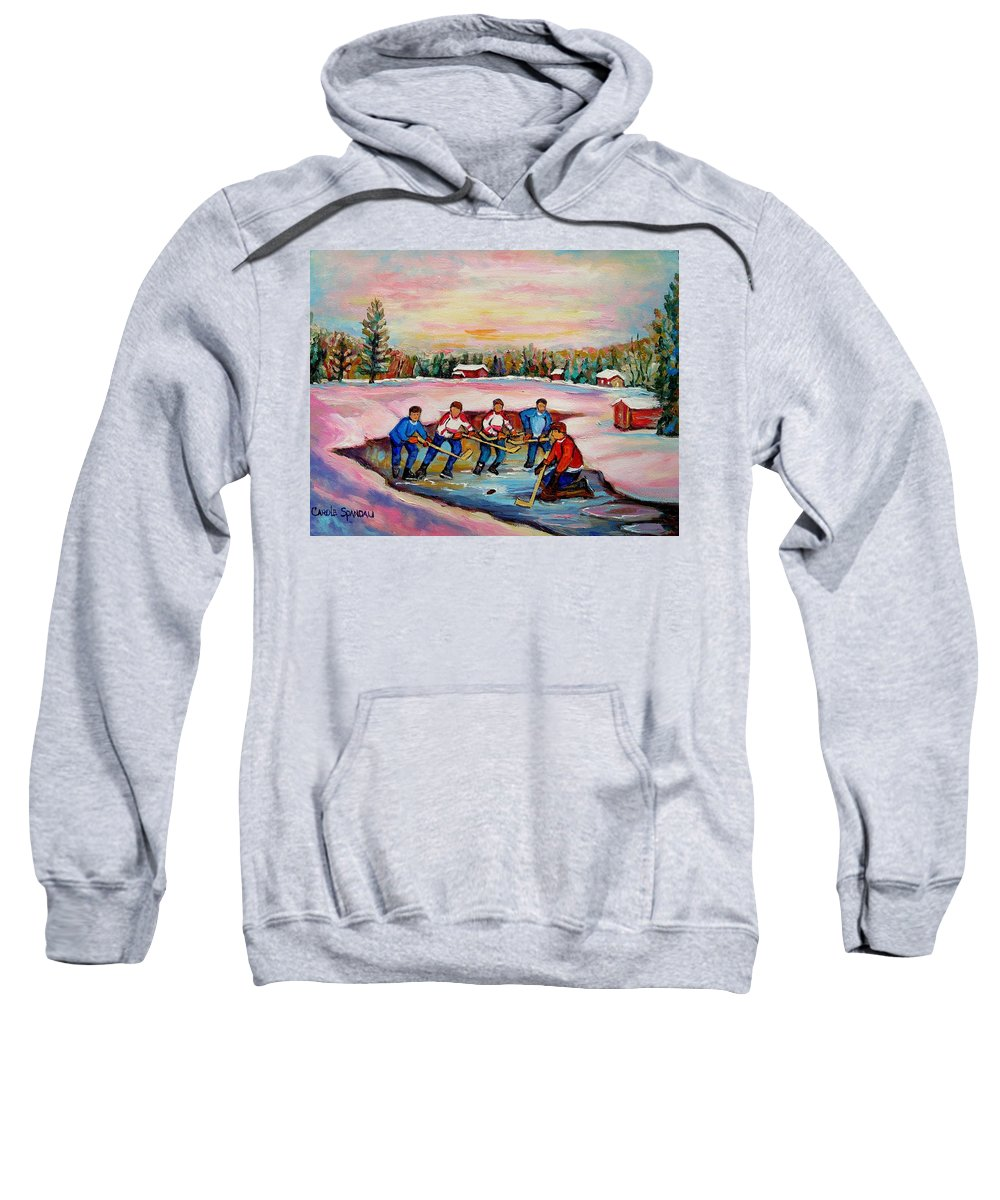 Pond Hockey Sweatshirt featuring the painting Pond Hockey Warm Day by Carole Spandau