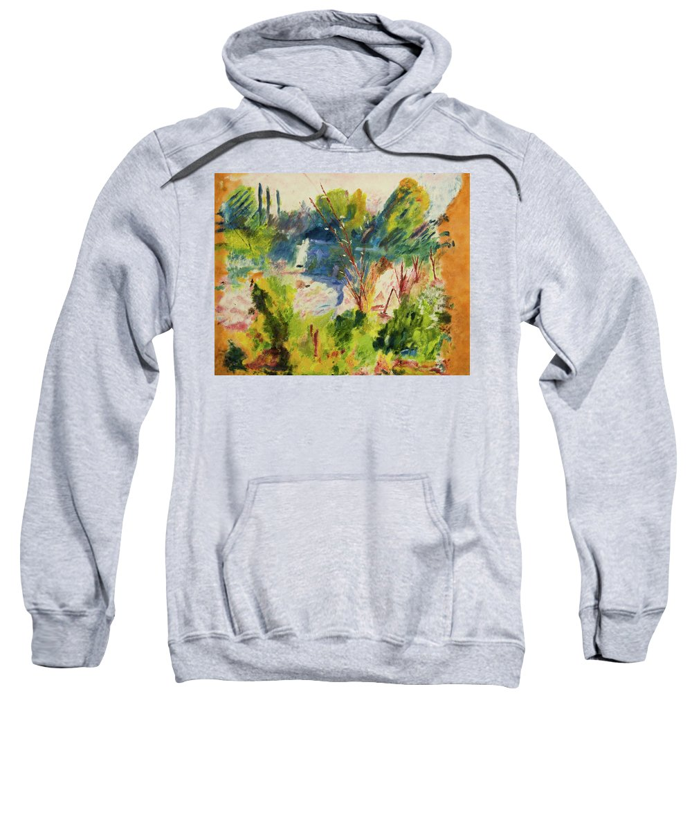 Blue Sweatshirt featuring the painting Pond by Neil Gallagher