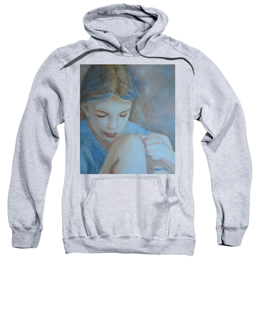 Girl Sweatshirt featuring the painting Pondering by Jenny Armitage