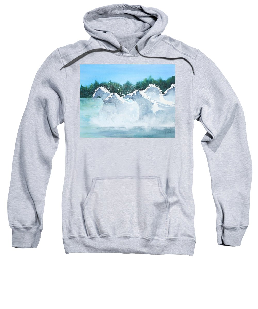 Horse Sweatshirt featuring the painting Splash 2 by Ally Benbrook