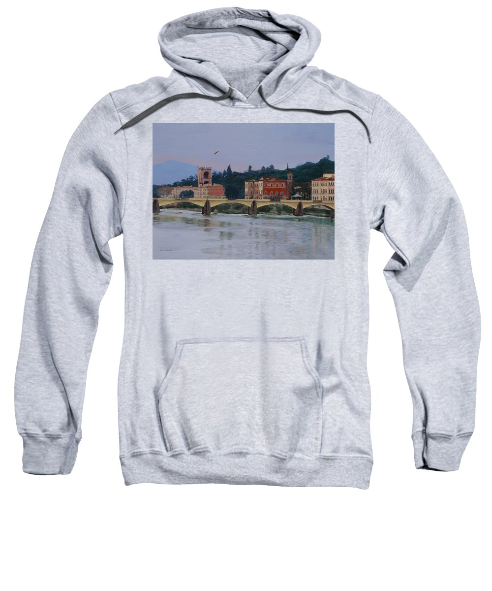 Acrylic Sweatshirt featuring the painting Ponte Vecchio Landscape by Lynne Reichhart
