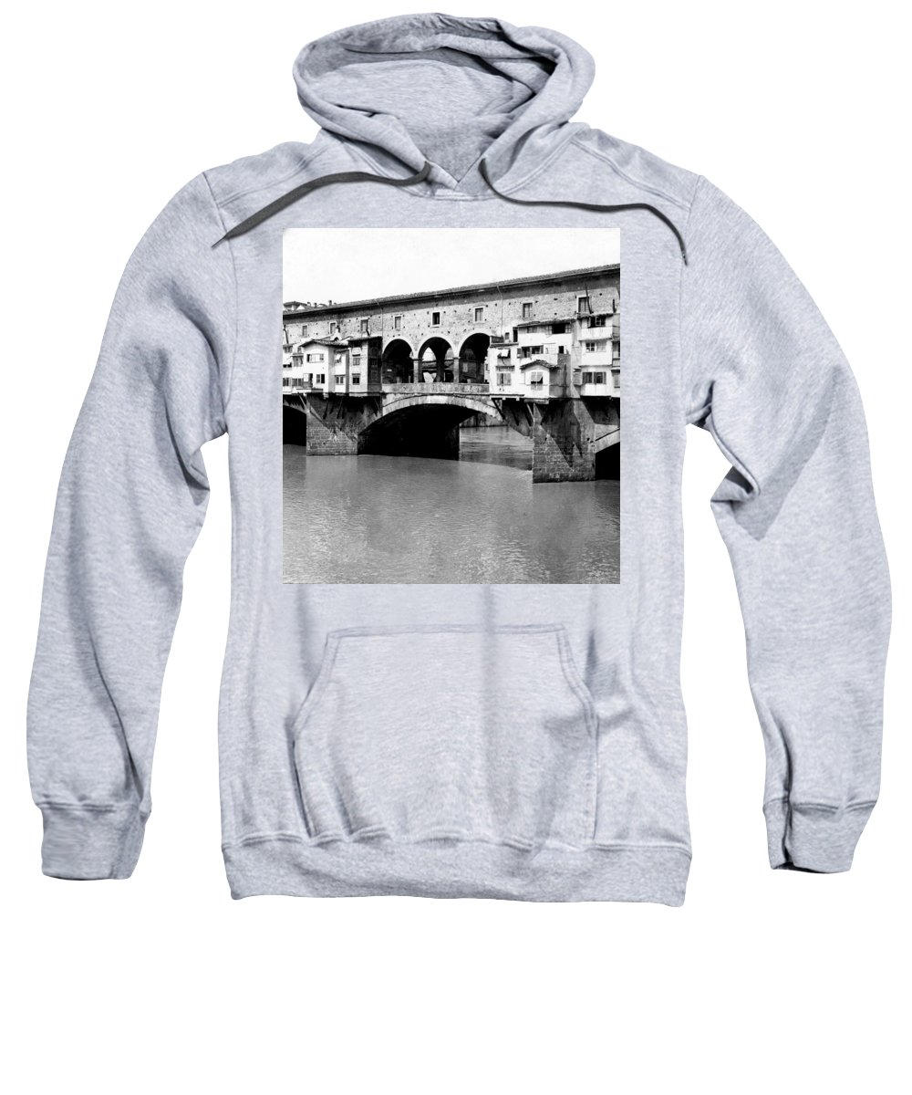 Florence Sweatshirt featuring the photograph Ponte Vicchio Bridge In Florence Italy - C 1905 by International Images