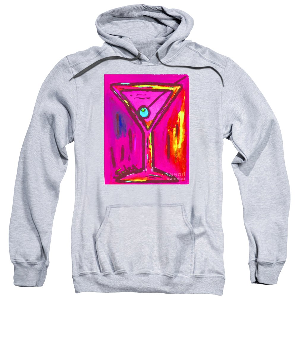 Martini Sweatshirt featuring the painting Pop Art Martini Pink Neon Series 1989 by Sidra Myers