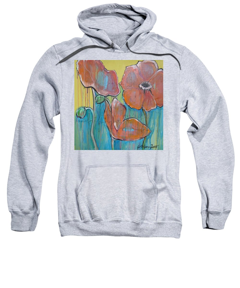 Pop Art Sweatshirt featuring the painting Poppies 3 by Laurie Maves ART