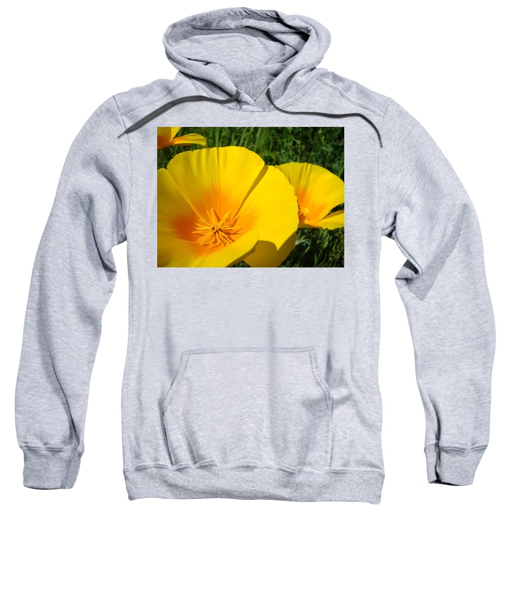 �poppies Artwork� Sweatshirt featuring the photograph Poppies Art Poppy Flowers 4 Golden Orange California Poppies by Baslee Troutman