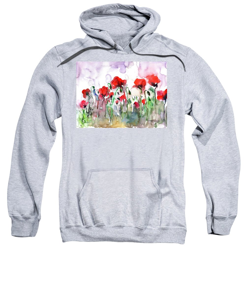 Poppies Sweatshirt featuring the painting Poppies by Faruk Koksal