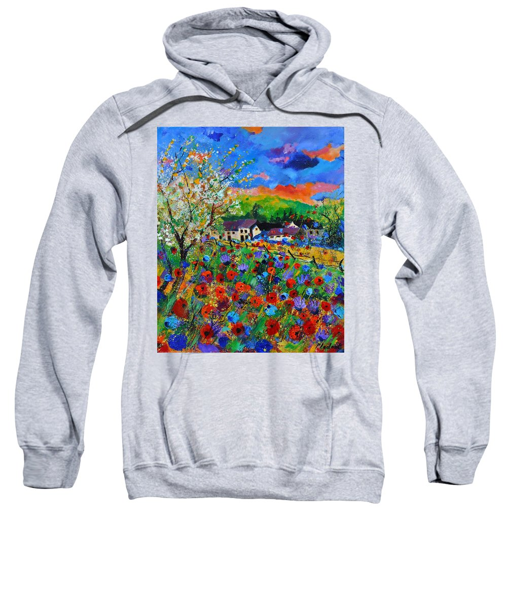 Poppies Sweatshirt featuring the painting Poppies in Sorinnes by Pol Ledent