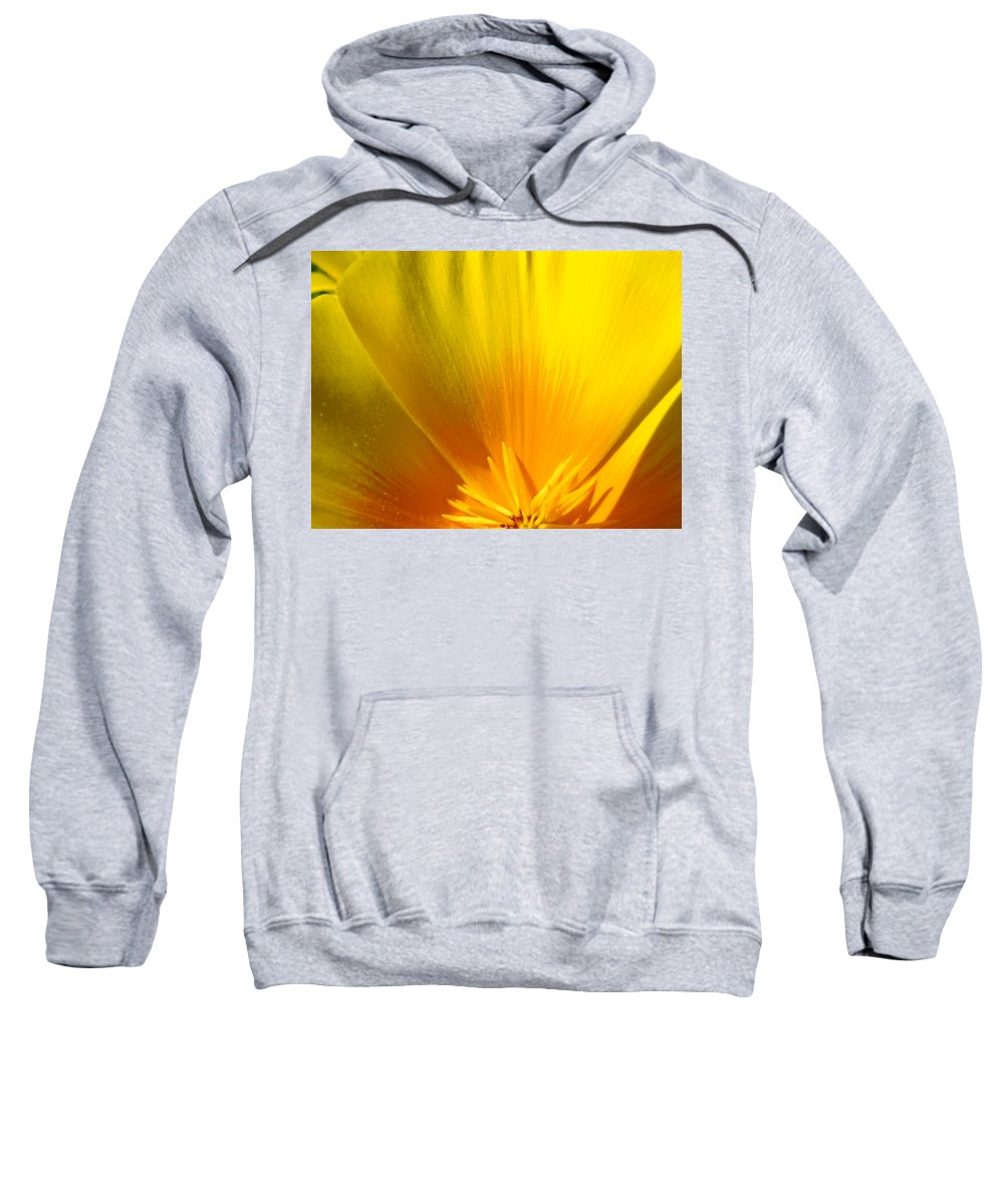 �poppies Artwork� Sweatshirt featuring the photograph Poppies Orange Poppy Flower Close Up 2 Sunlit Poppy Baslee Troutman by Baslee Troutman