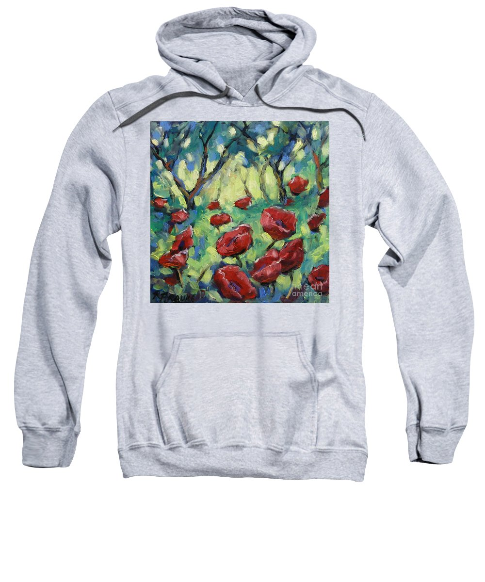 Art Sweatshirt featuring the painting Poppies Through The Forest by Richard T Pranke