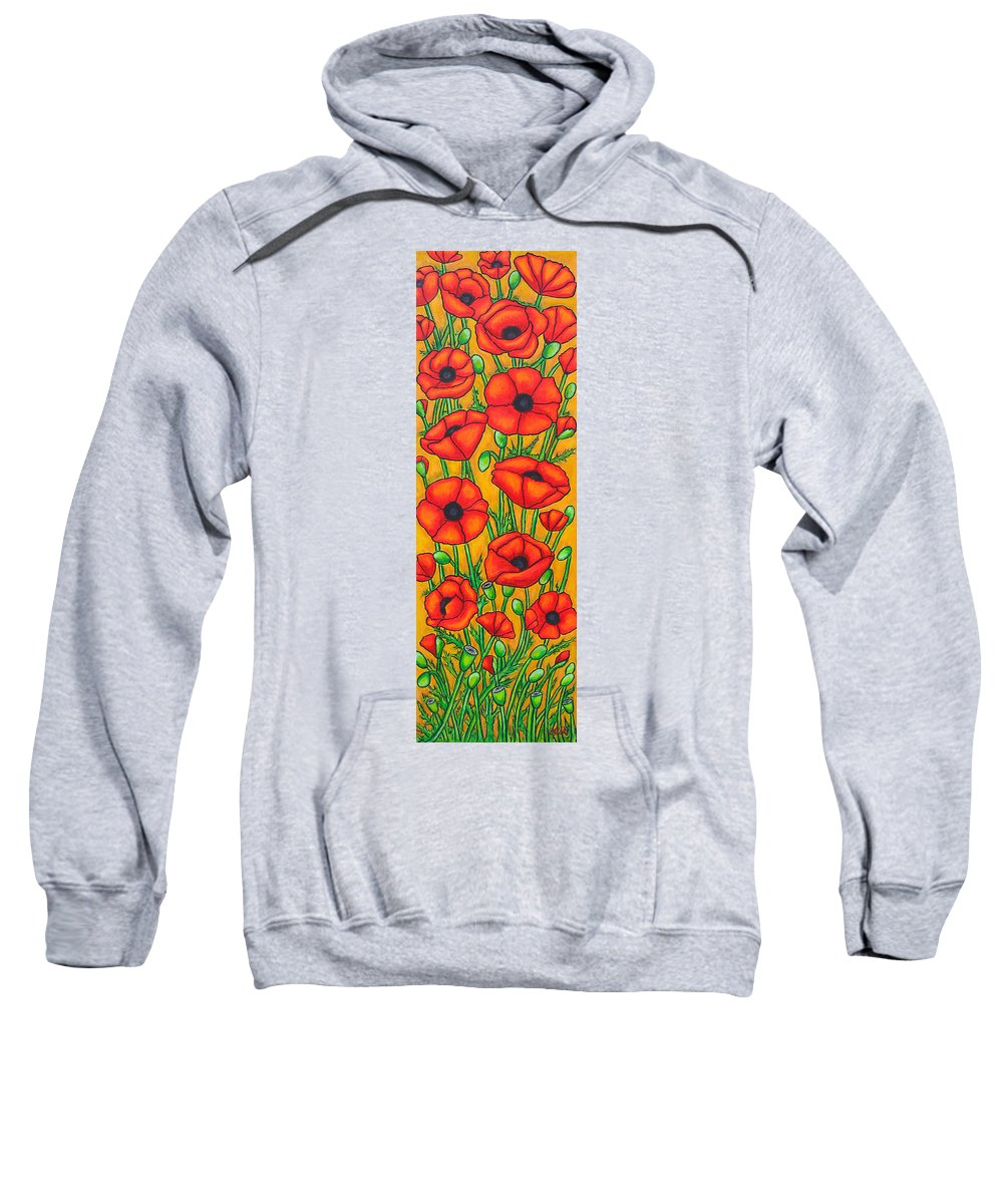 Poppies Sweatshirt featuring the painting Poppies Under The Tuscan Sun by Lisa Lorenz