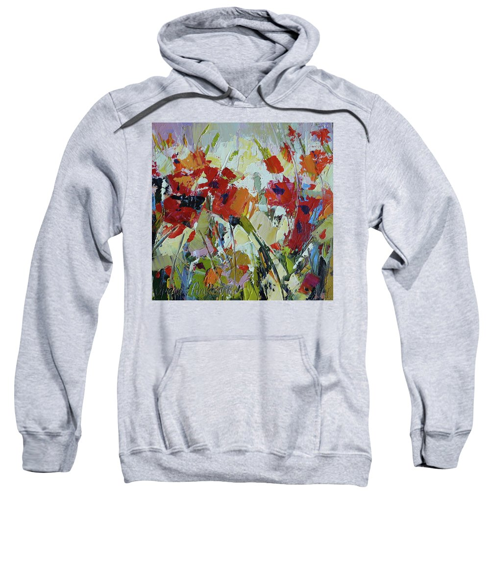 Poppies Sweatshirt featuring the painting Poppies by Yvonne Ankerman