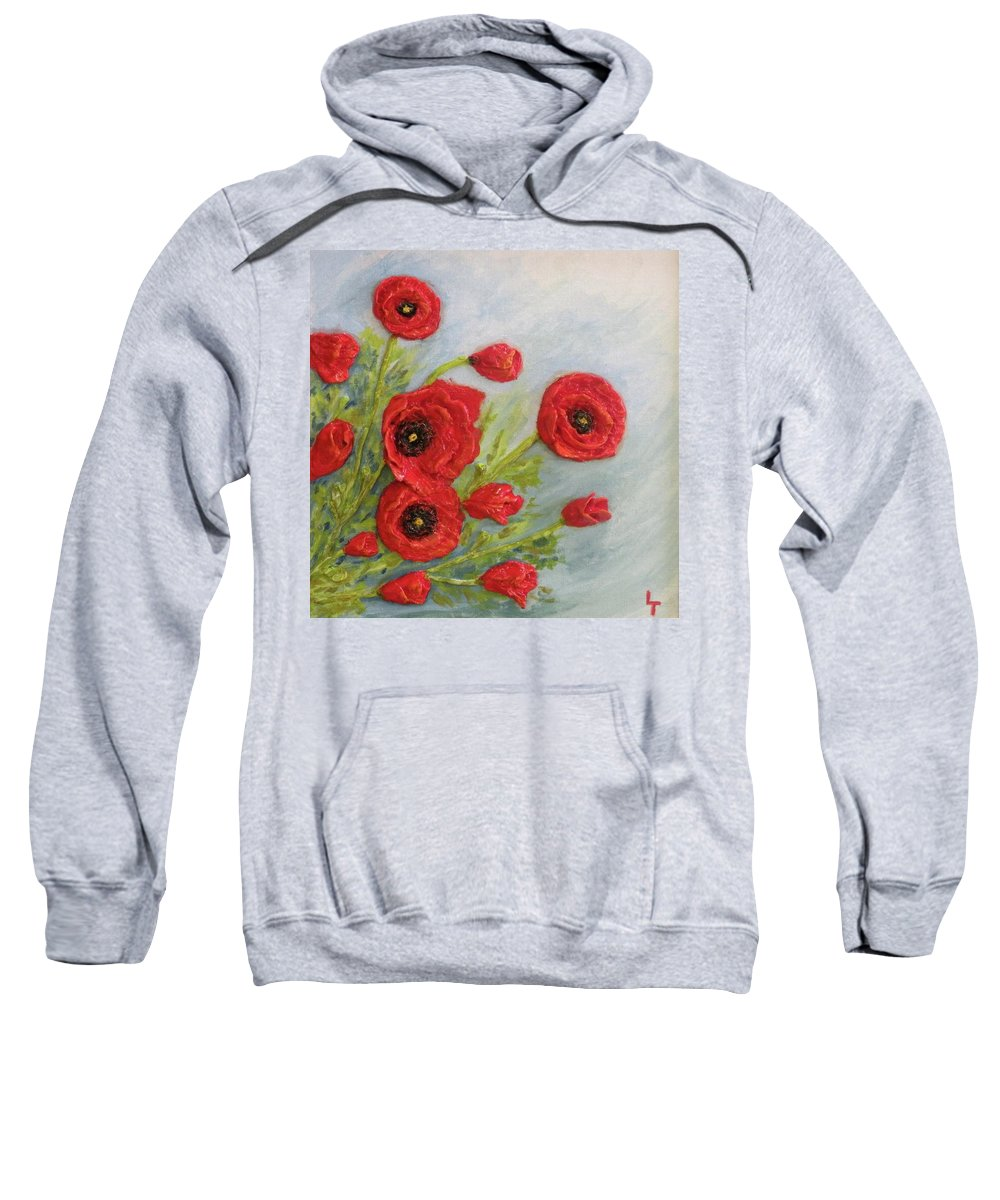 Flowers Sweatshirt featuring the relief Poppin Poppies by Lorrie T Dunks