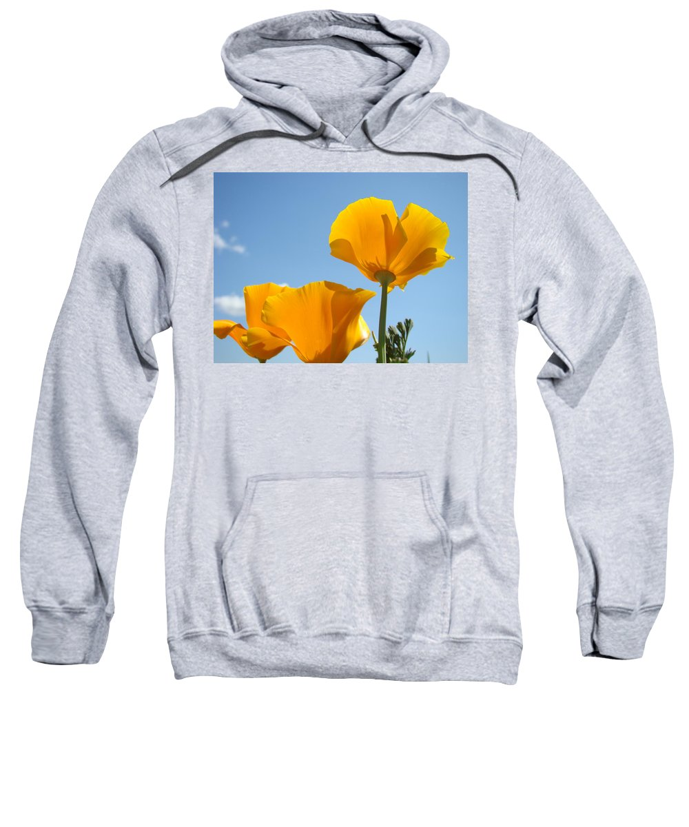 �poppies Artwork� Sweatshirt featuring the photograph Poppy Landscape Poppies Flowers Blue Sky 12 Baslee Troutman by Baslee Troutman