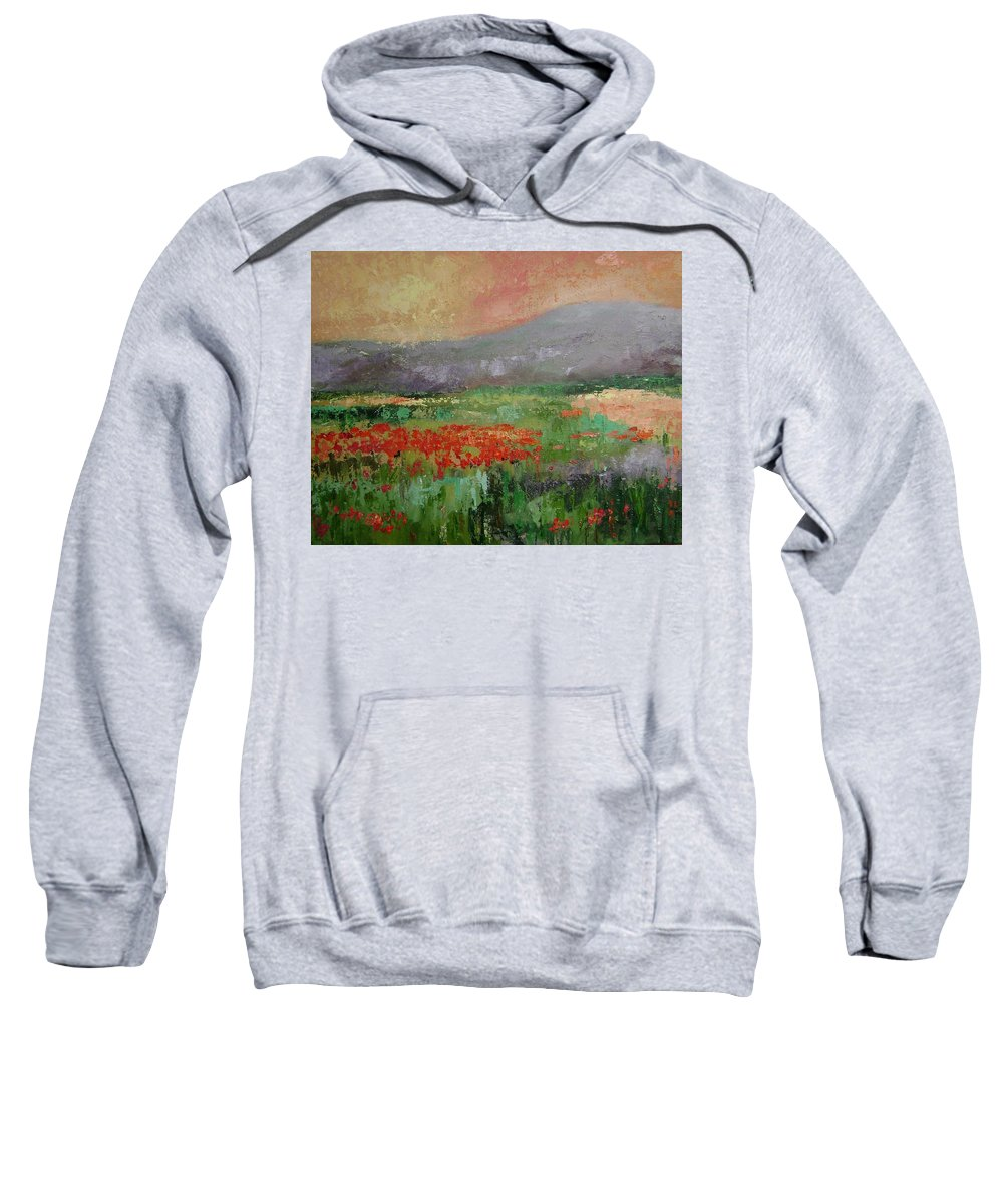 Poppies Sweatshirt featuring the painting Poppyfield by Ginger Concepcion