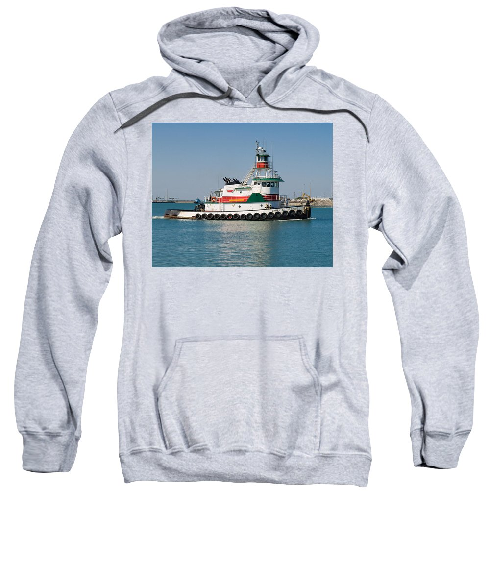 Emily; C; Cheramie; Tug; Tugboat; Bow; Offshore; 3600; Hp; Class; Work; Working; Workboat; Dredge; D Sweatshirt featuring the photograph Popular Sight At Port Canaveral On Florida by Allan Hughes