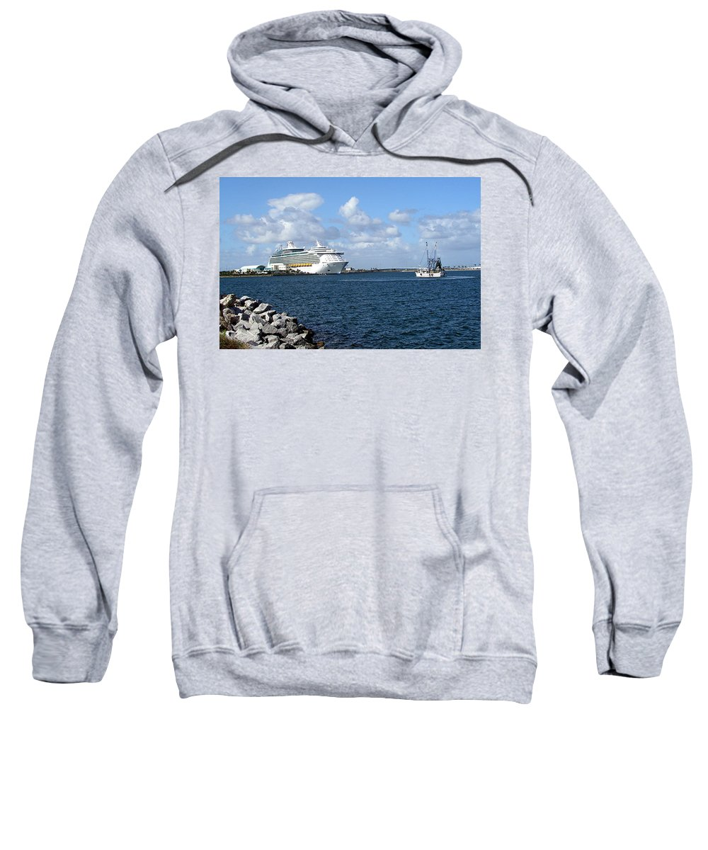 Cruise; Ships; Cruiseship; Ocean; Liner; Oceanliner; Port; Canaveral; Florida; Harbor; Harbour; Blue Sweatshirt featuring the photograph Port Canaveral In Floirda by Allan Hughes