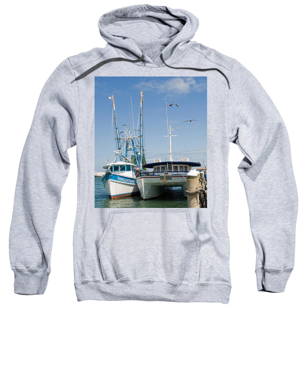 Florida; East; Coast; Atlantic; Ocean; Sea; Port; Canaberal; Harbor; Harbour; Boat; Shrimp; Party; C Sweatshirt featuring the photograph Port Canaveral On The East Coast Of Florida by Allan Hughes