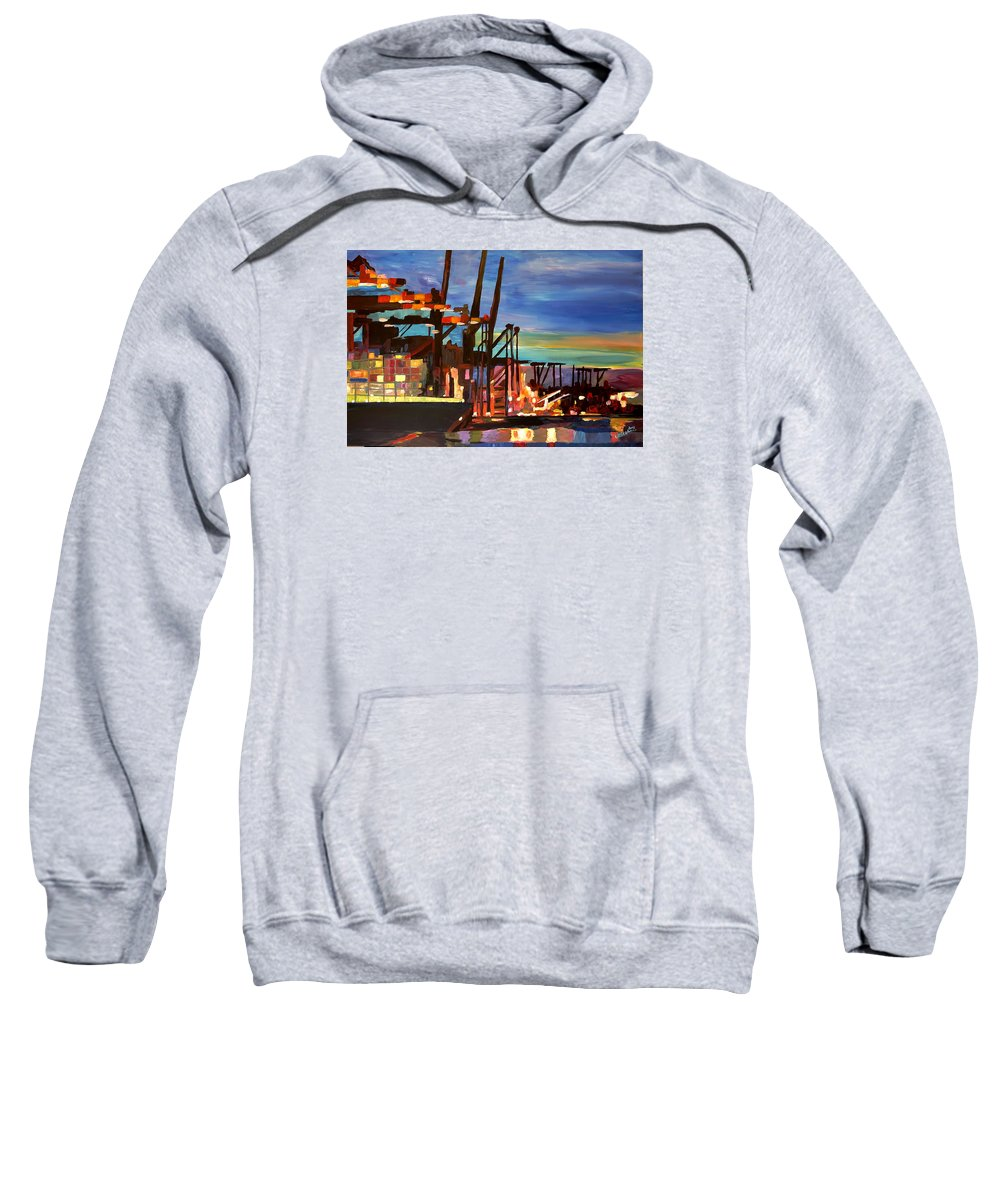 Port Sweatshirt featuring the painting Port Of Hamburg With Container Ships by M Bleichner