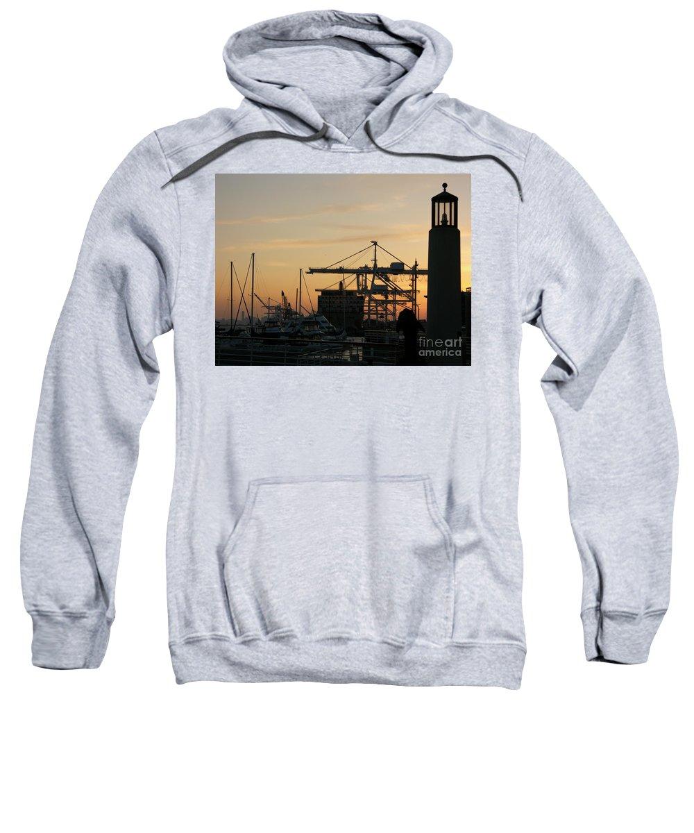 Oakland Sweatshirt featuring the photograph Port Of Oakland Sunset by Carol Groenen