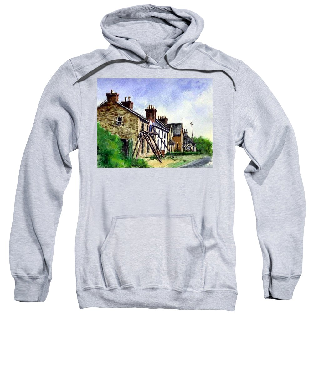 Water Color Sweatshirt featuring the painting Port Rush Gutter Repair by Jim Gola