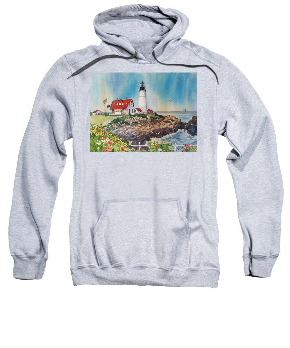 Portland Me Lighthouse Sweatshirt featuring the painting Portland Head Light by Dianna Willman