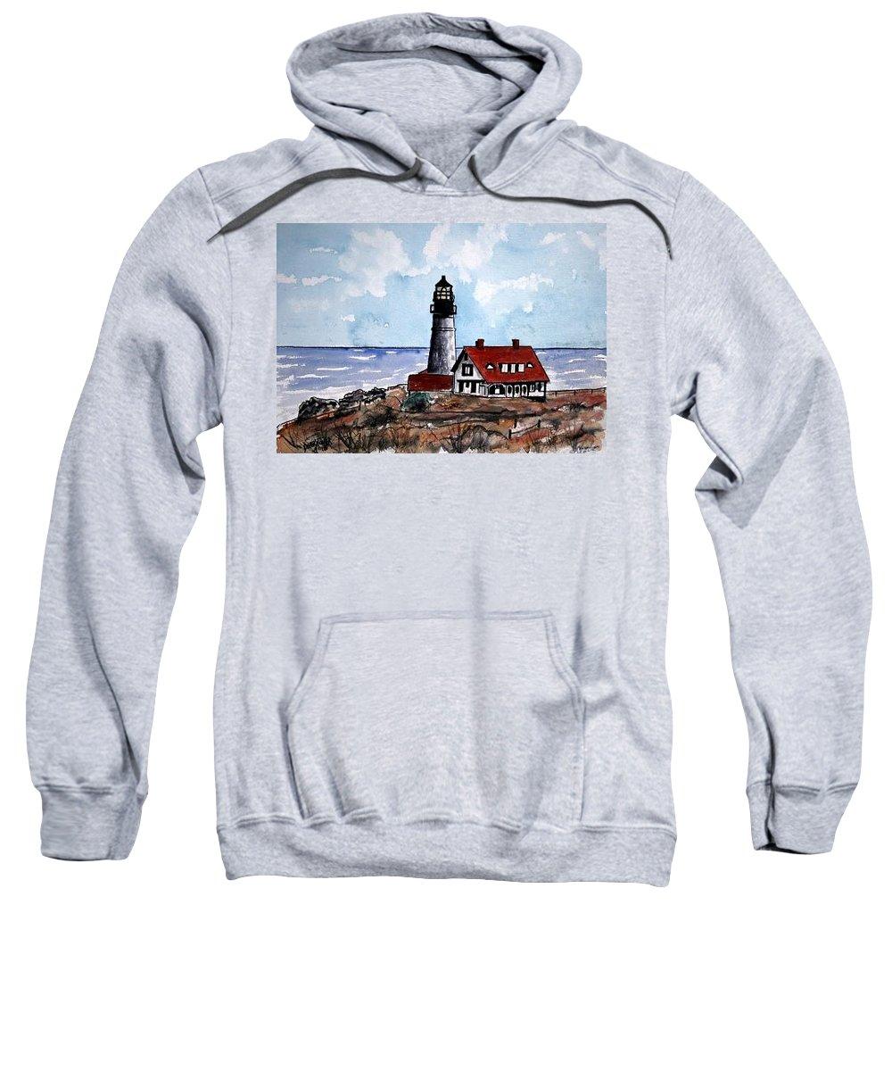 Lighthouse Paintings Sweatshirt featuring the painting Portland Head Lighthouse by Derek Mccrea