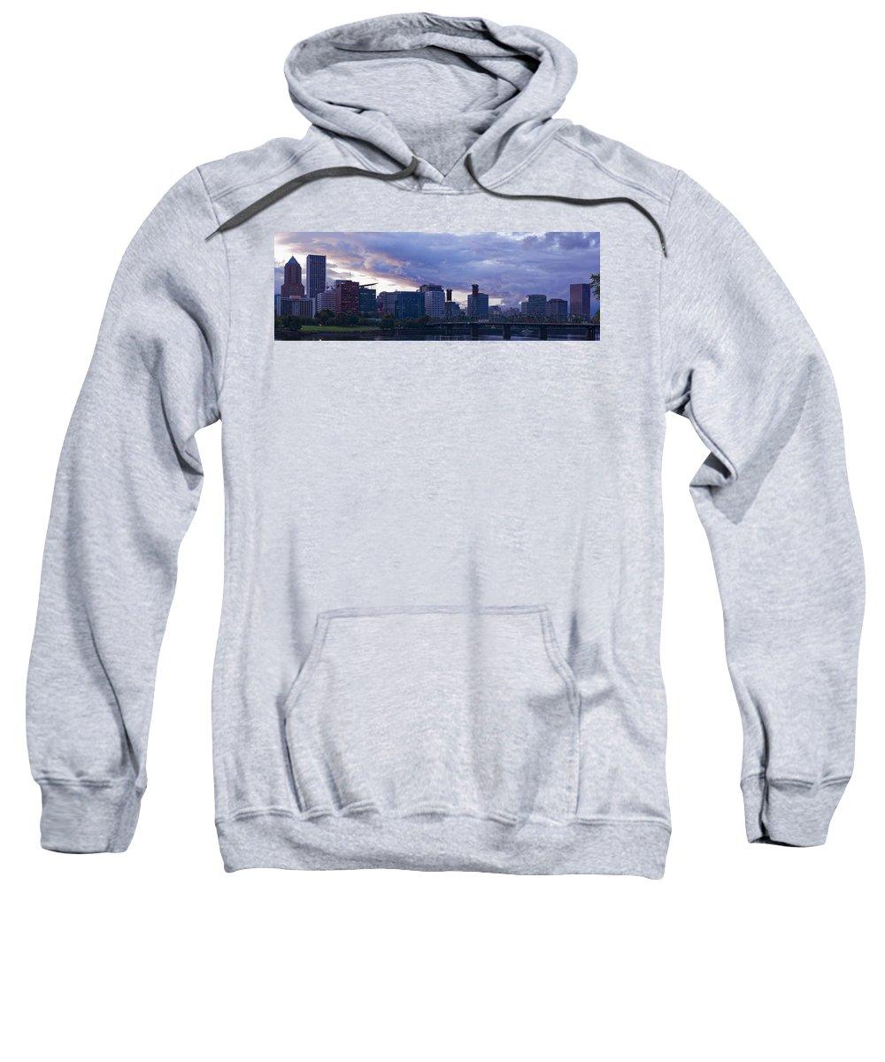 Portland Sweatshirt featuring the photograph Portland Oregon Panorama by Jonathan Davison