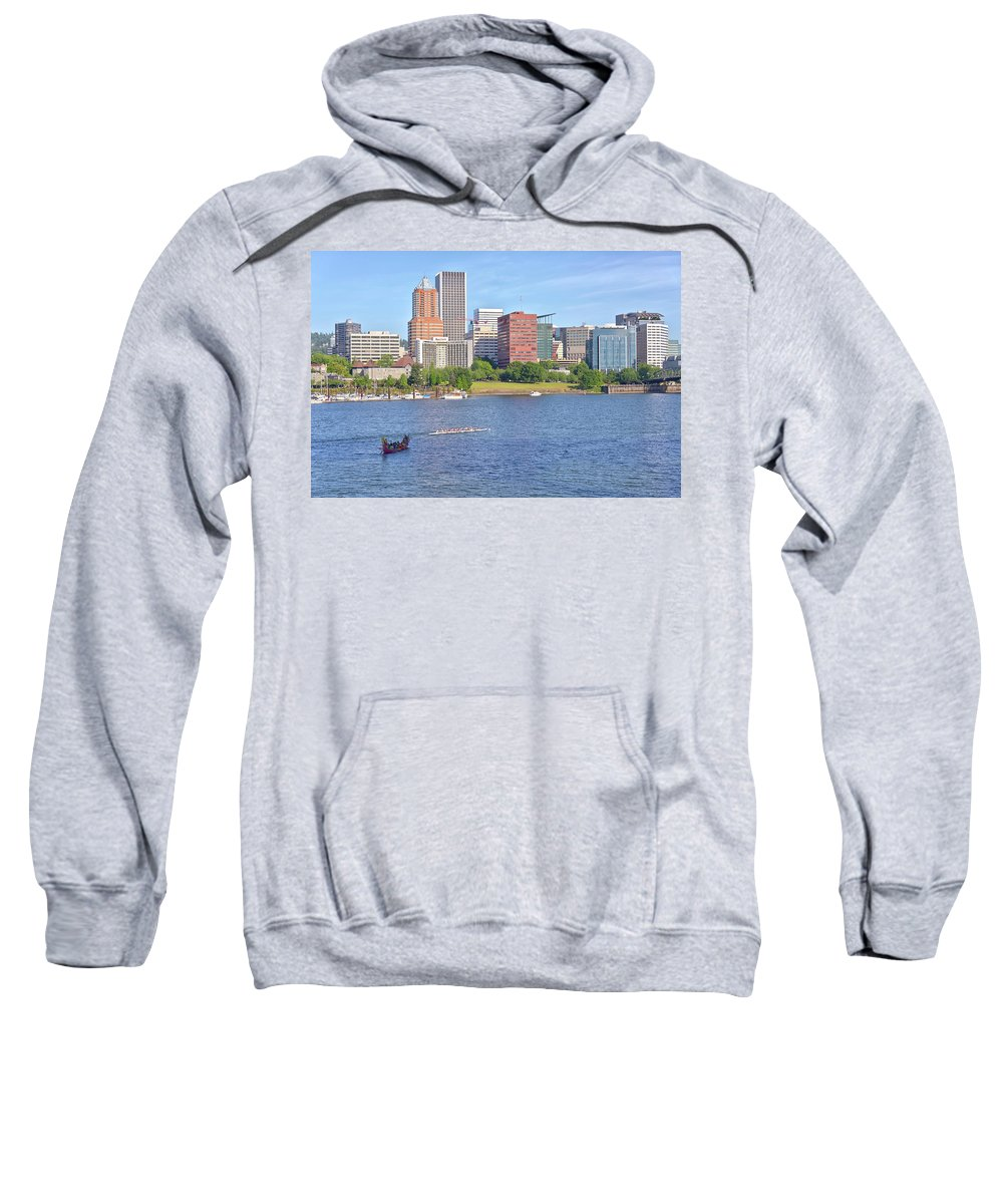Portland Sweatshirt featuring the photograph Portland Oregon Skyline And Rowing Boats. by Gino Rigucci