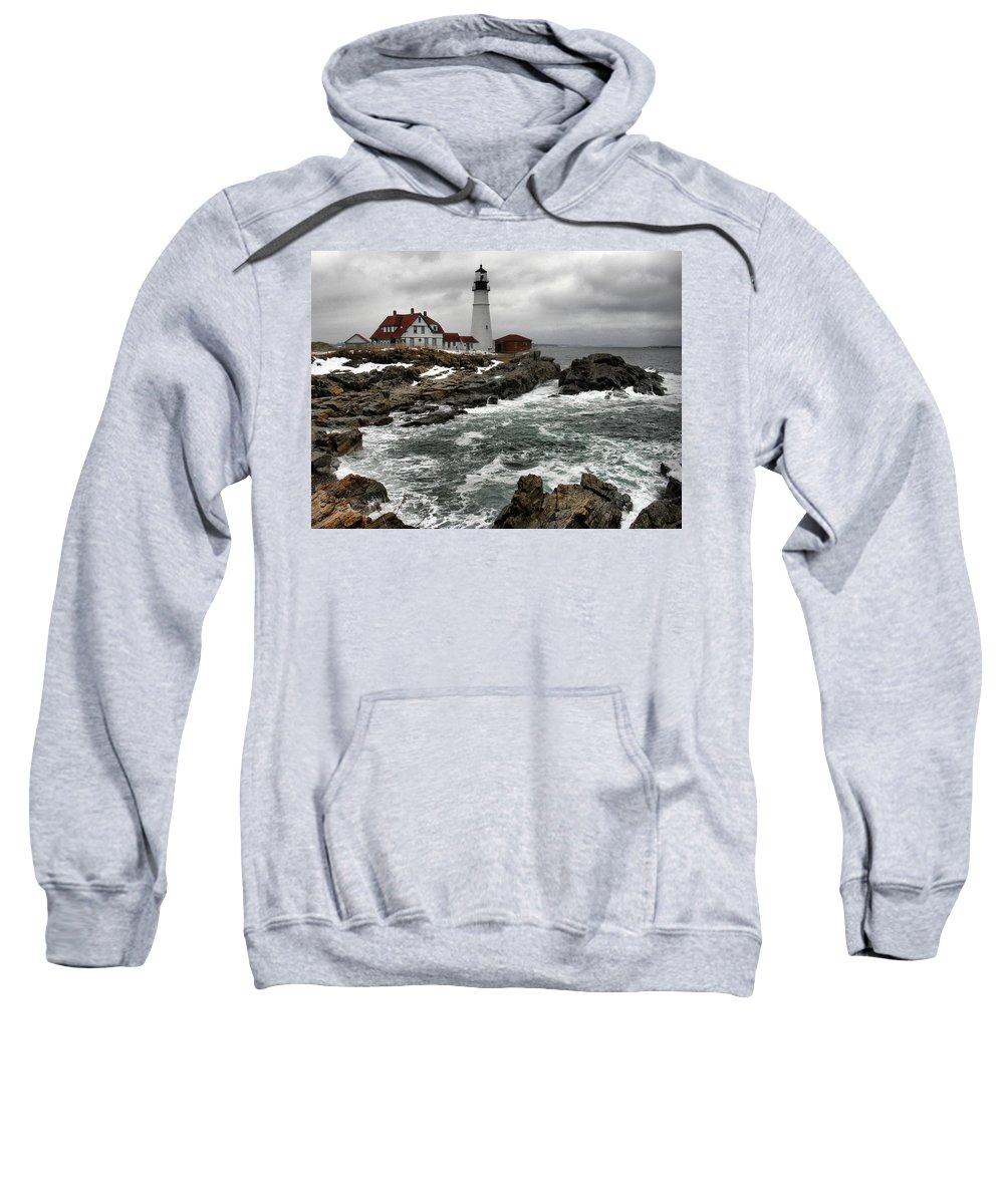 New England Lighthouse Sweatshirt featuring the photograph Portlandhead Lighthouse by Nancie DeMellia