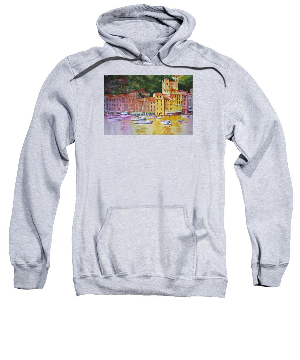 Italy Sweatshirt featuring the painting Portofino Afternoon by Karen Stark