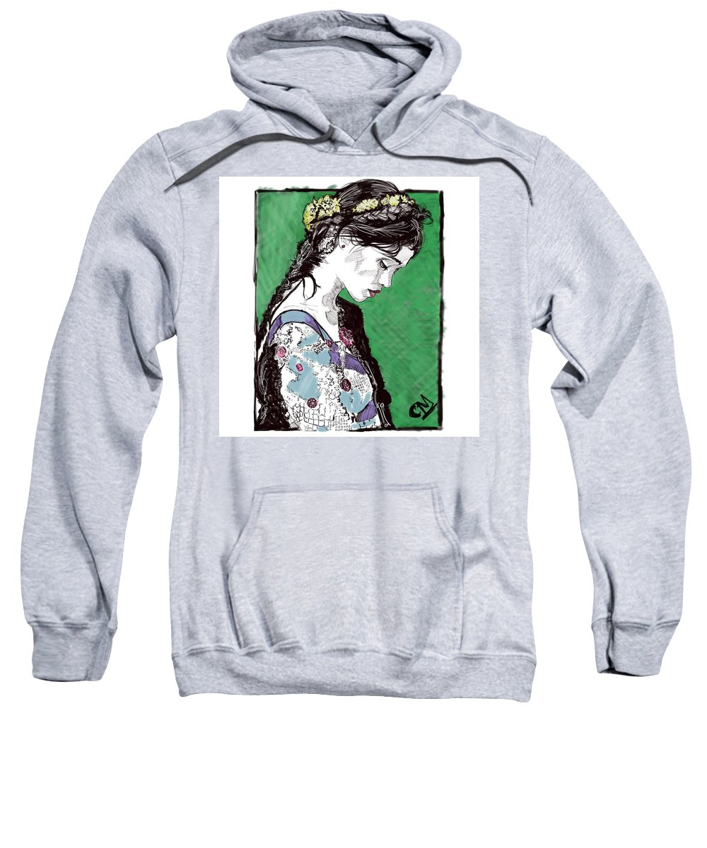 Digital Painting Portrait Sweatshirt featuring the painting Portrait 6 by Carrley Mason