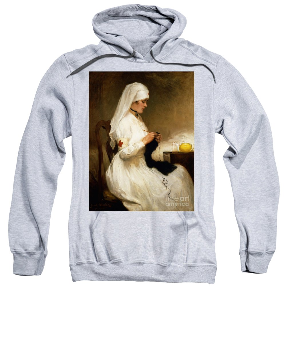 Portrait Sweatshirt featuring the painting Portrait Of A Nurse From The Red Cross by Gabriel Emile Niscolet