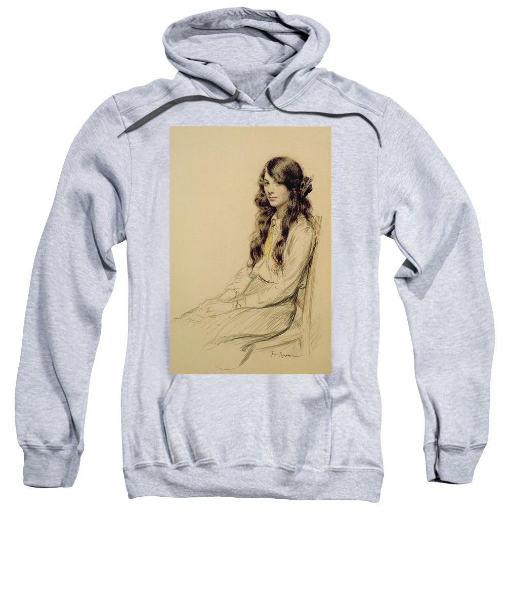 Portrait Sweatshirt featuring the drawing Portrait Of A Young Girl by Frederick Pegram
