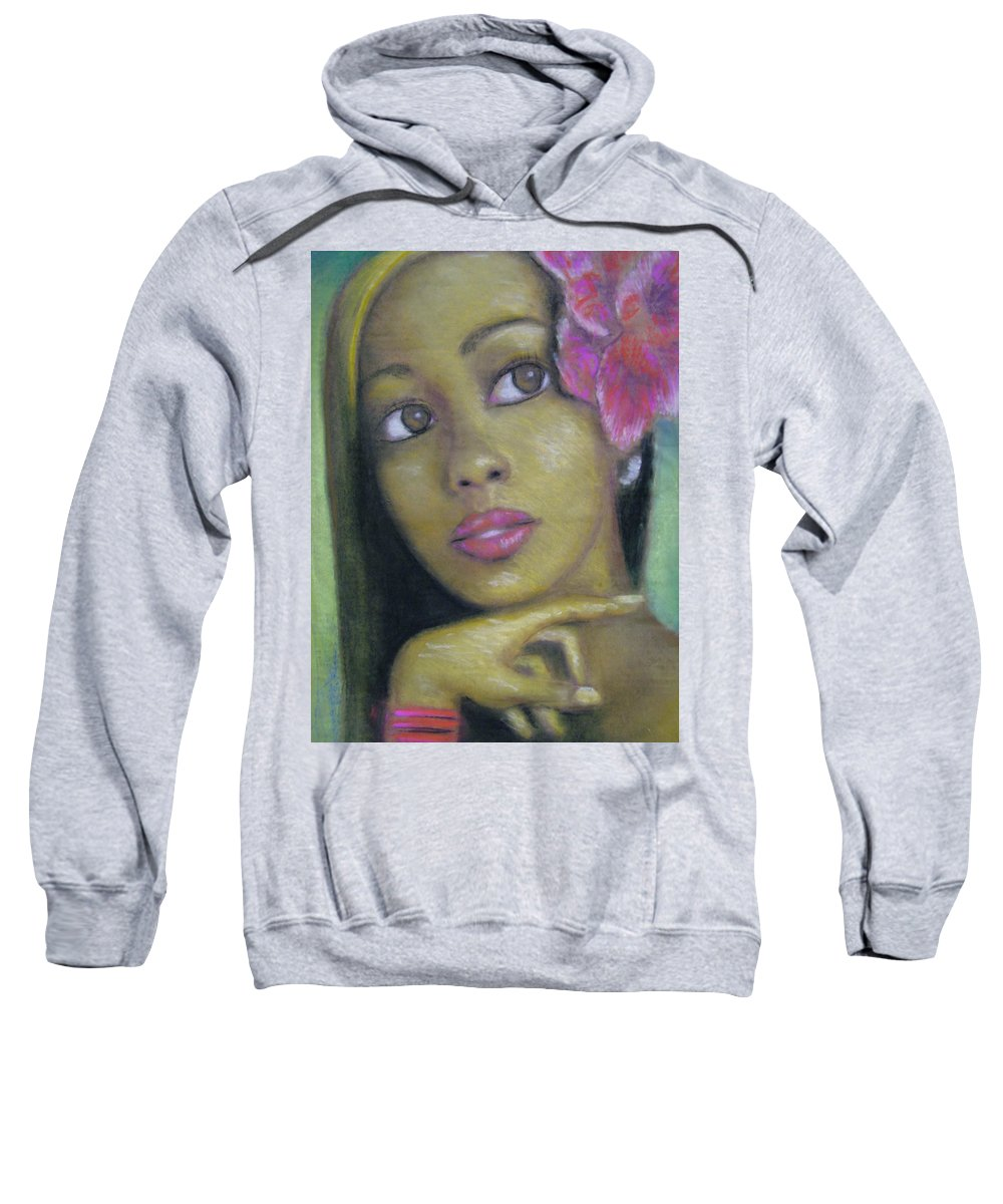 Drawing Sweatshirt featuring the drawing Portrait Of Monica by Jan Gilmore
